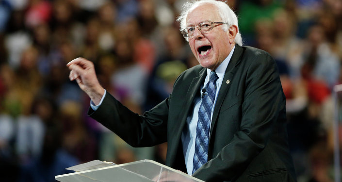 Democratic presidential candidate, Sen. Bernie Sanders, I-Vt. gestures during a speech at Liberty University in Lynchburg, Va., Monday, Sept. 14, 2015.