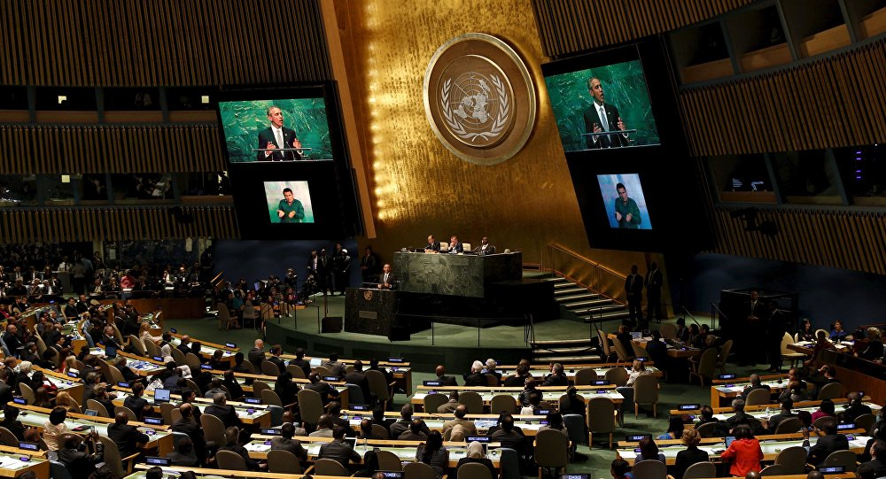 U.S. President Barack Obama speaks at the U.N. closing session on the post-2015 development agenda at the United Nations General Assembly September 27, 2015