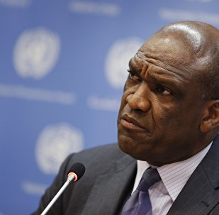 File photo of Ambassador Ashe of Antigua and Barbuda and current President of the U.N. General Assembly speaking during a news conference ahead of the 68th United Nations General Assembly at U.N. Headquarters in New York