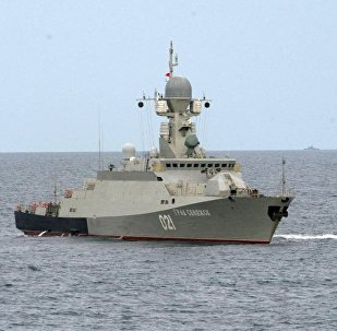 Russian military warship Grad Sviyazhsk during drills in the Caspian Sea