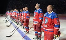 Russia's President Vladimir Putin played ice hockey alongside some ex-NFL stars players from the Night Hockey League on his birthday on Wednesday