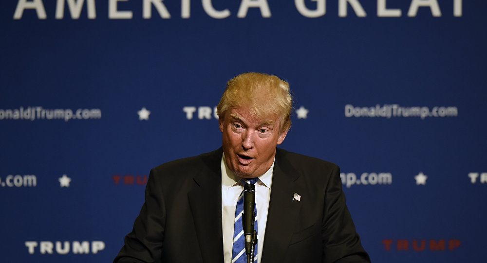Republican presidential candidate Donald Trump speaks at an event.