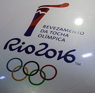 View of a Rio 2016 Olympic torch logo at the Jockey Club in Rio de Janeiro, Brazil