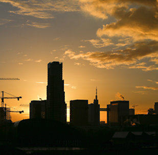 Buildings under construction are seen during a sunrise in central Brussels, Belgium, November 26, 2015