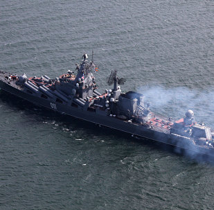 The guided missile cruiser Varyag of the Russian Pacific Fleet