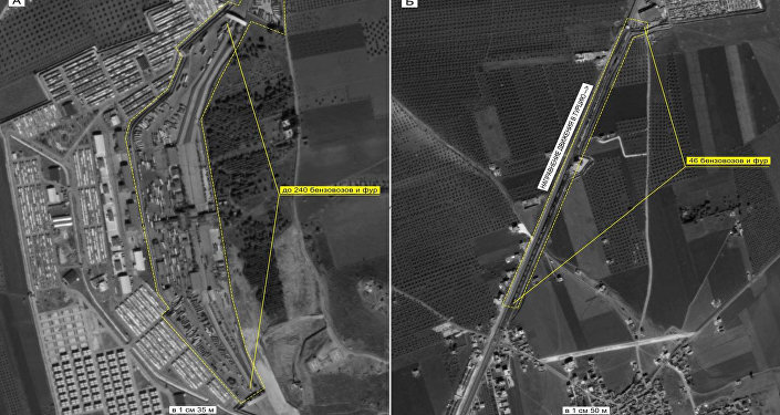 Concentration of vehicles and direction of truck convoys' traffic into Turkey. Maximum available quality. (Still frames of the Russian Defense Ministry.)