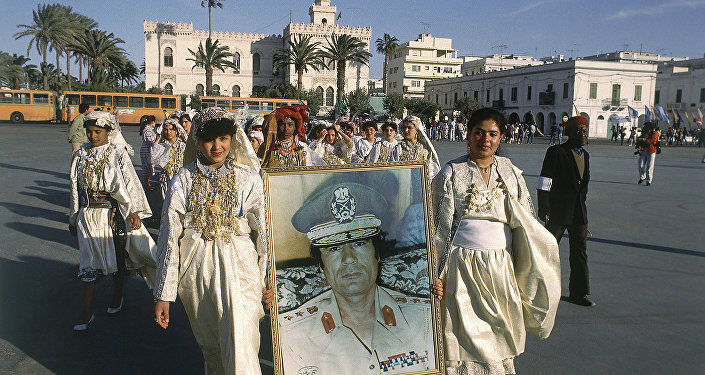 Students march in Green Square in Tripoli, Libya in 1986