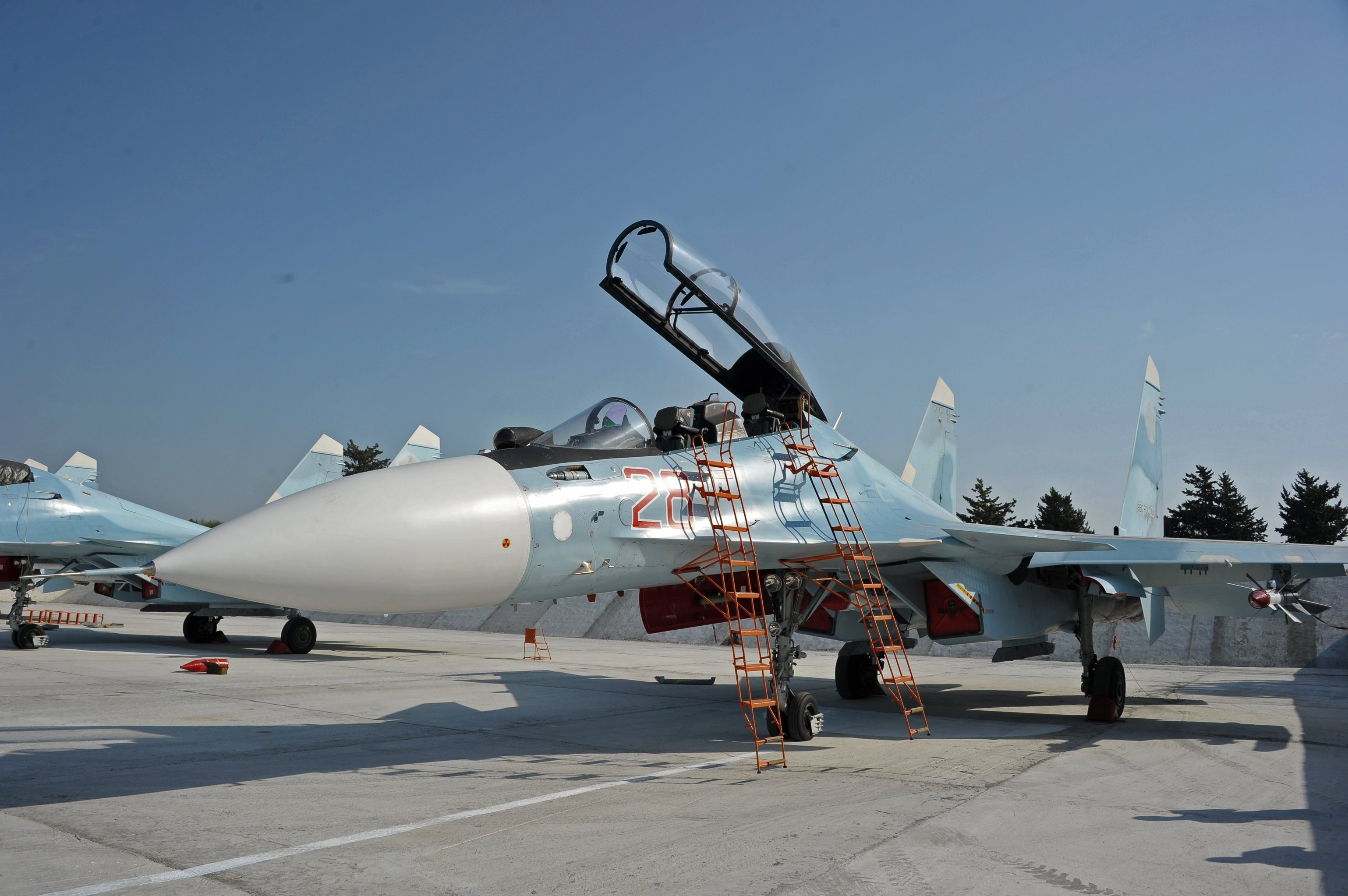 Russian aircraft at the Hmeymim Air Base in Syria.