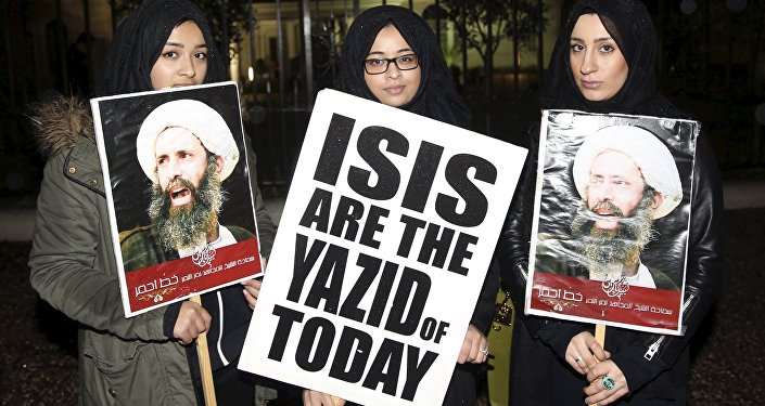 Protesters hold placards as they demonstrate against the execution of prominent Shi'ite cleric Sheikh Nimr al-Nimr outside the Saudi Arabian Embassy in London, Britain January 2, 2016