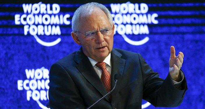 German Finance Minister Wolfgang Schaeuble gestures during the session 'The Future of Europe' at the annual meeting of the World Economic Forum (WEF) in Davos, Switzerland January 21, 2016