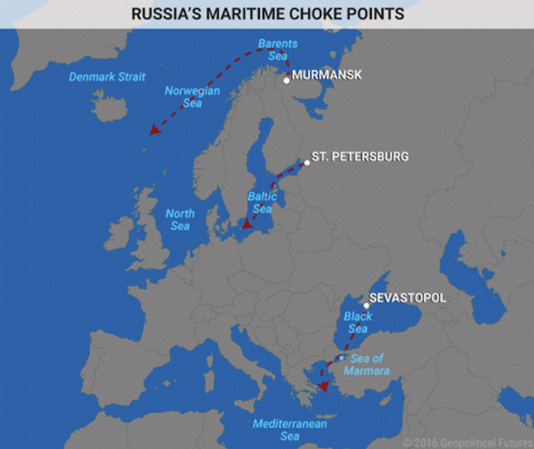 Europe controls Russia's access to the oceans