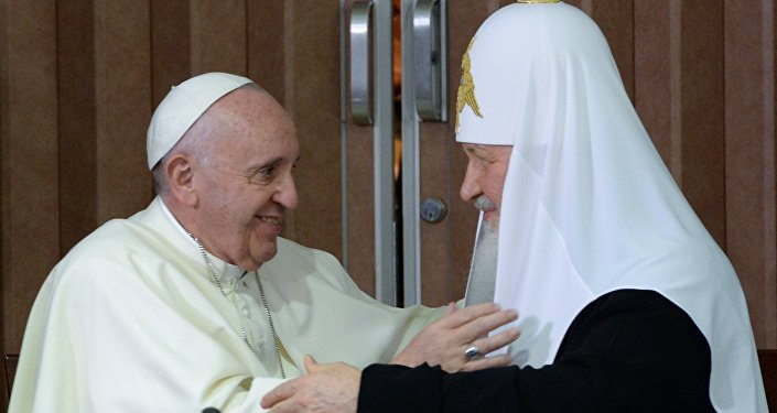 Patriarch Kirill of Moscow and All Russia meets with Pope Francis of Rome