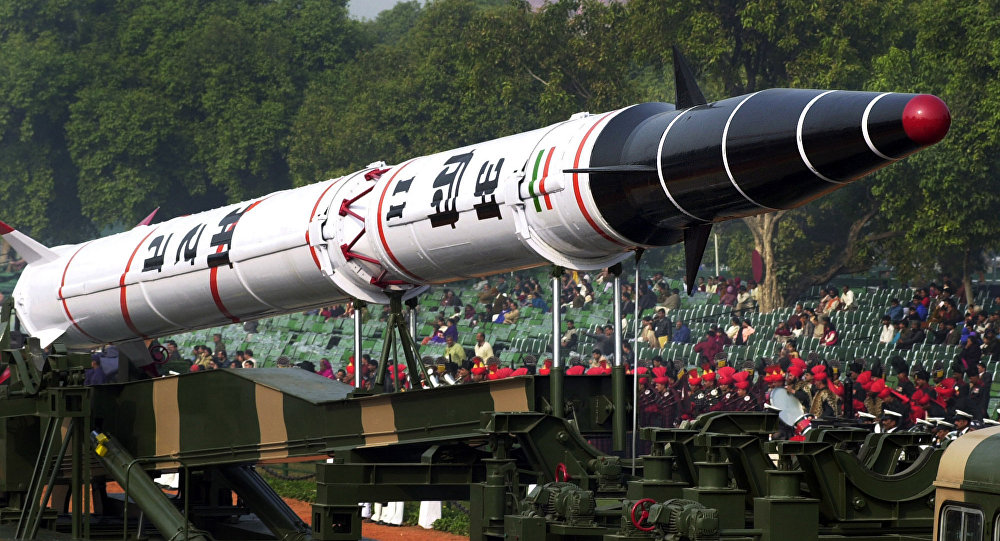 India's Agni II missile is seen in a rehearsal for the Republic Day Parade in New Delhi, India.