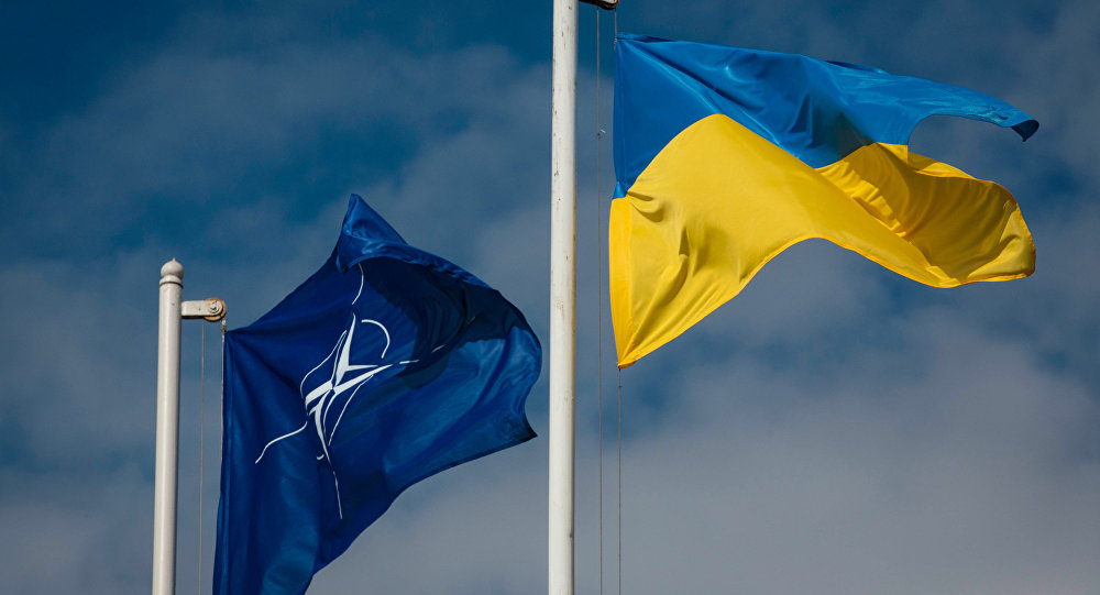 National flag of Ukraine and the NATO flag.
