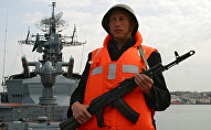 A serviceman of the Smetlivy anti-submarine ship of Russia's Black Sea Fleet at the naval base in Sevastopol