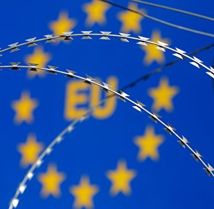 Razor wire is seen in front of an European Union (EU) sign during a protest against barbed wire fences along the border crossing between Slovenia and Croatia in Brezovica pri Gradinu, Slovenia, in this file picture taken December 19, 2015.