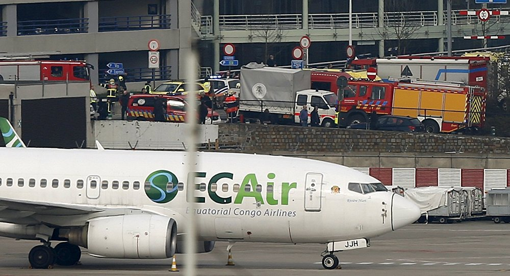 Emergency services at the scene of explosions at Zaventem airport near Brussels, Belgium March 22, 2016