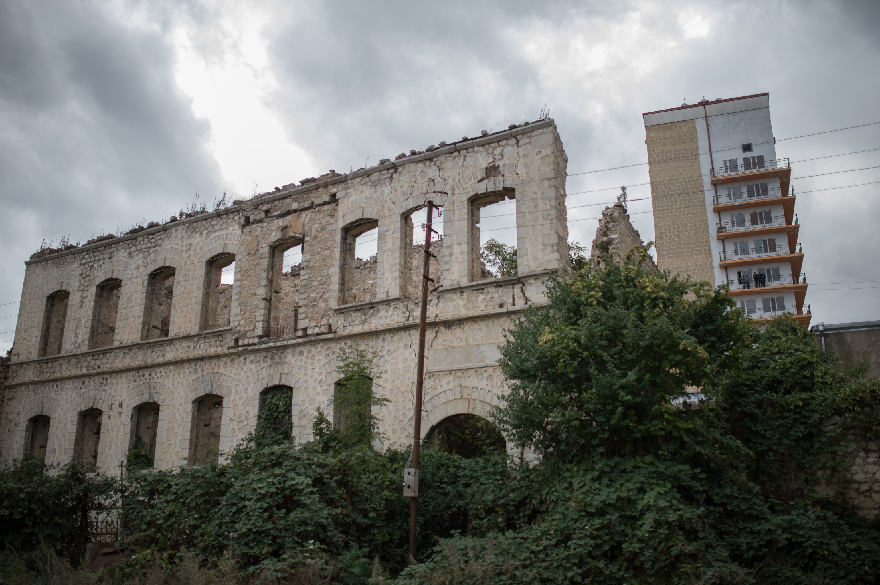Houses destroyed during the war in the town of Shusha in the self-proclaimed Nagorno-Karabakh Republic