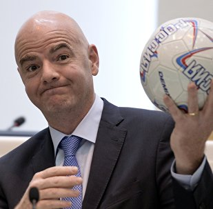 FIFA President Gianni Infantino at a Federation Council meeting.