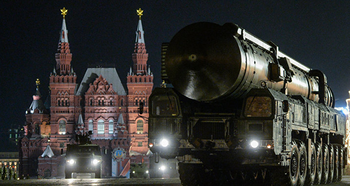 A Yars ground mobile missile system at the rehearsal of the military parade dedicated to the 71 th anniversary of Victory in the Great Patriotic War, in Red Square in Moscow