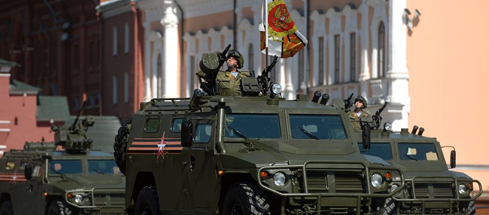 Multipurpose, all-terrain infantry mobility vehicle Tigr showcased during Victory Day parade in Moscow on May 9, 2016.