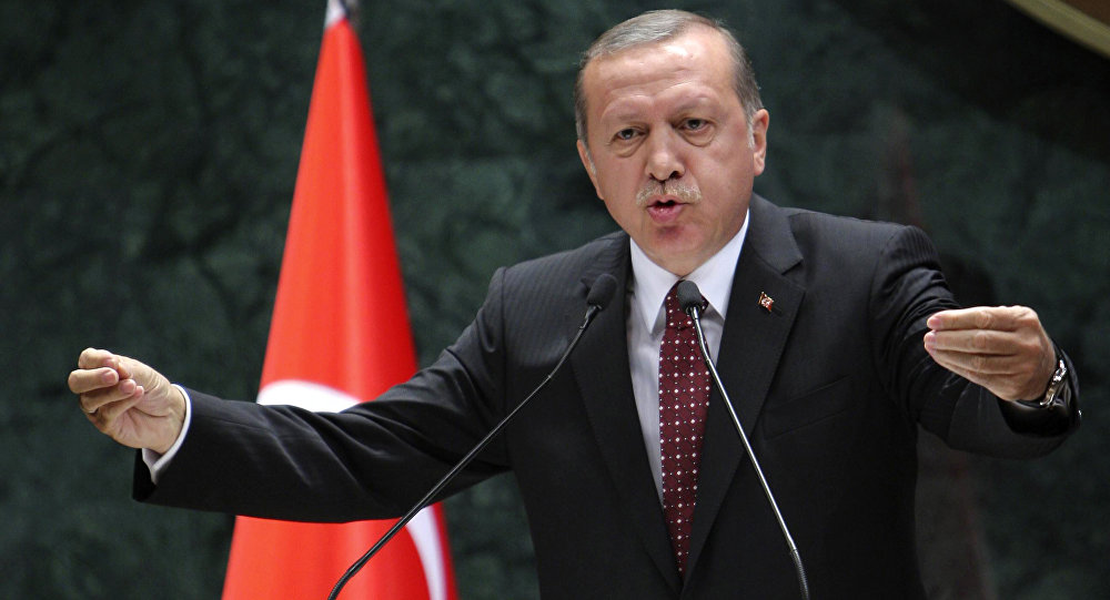 President of Turkey Recep Tayyip Erdogan delivers a speech during a ceremony of Turkey's main private sector organisation, the Union of Chambers and Commodity Exchanges of Turkey (TOBB), in Ankara, on May 10, 2016
