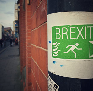 Sign supporting a British exit from the EU
