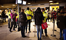Security checks travellers IDs on January 4, 2016 at the train station in Kastrup (Denmark), the last stop before Sweden