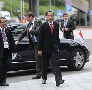 19 May 2016. President of Indonesia Joko Widodo, front, prior to the reception hosted by Russian President Vladimir Putin in honour of the ASEAN-Russia Summit leaders.