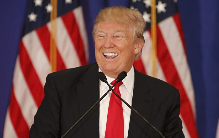 Republican US presidential candidate Donald Trump speaks during a news conference at his Trump National Golf Club in Jupiter, Florida, March 8, 2016.