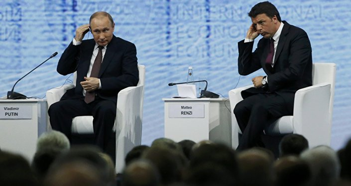 Russian President Vladimir Putin and Italian Prime Minister Matteo Renzi attend a session of the St. Petersburg International Economic Forum 2016 (SPIEF 2016) in St. Petersburg, Russia, June 17, 2016