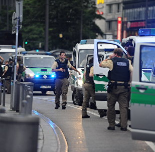 Police secures the area of Karlsplatz (Stachus square) following shootings on July 22, 2016 in Munich