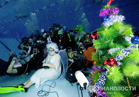 Celebrating New Year's Eve underwater
