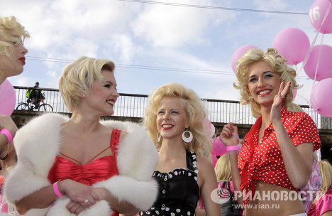 Parade of Glamorous Blondes in Riga