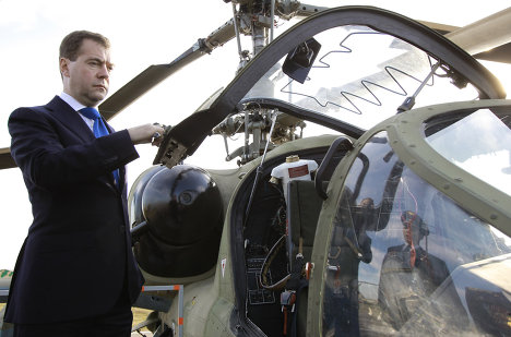 Medvedev visits helicopter base