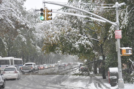 October snowfall in New York