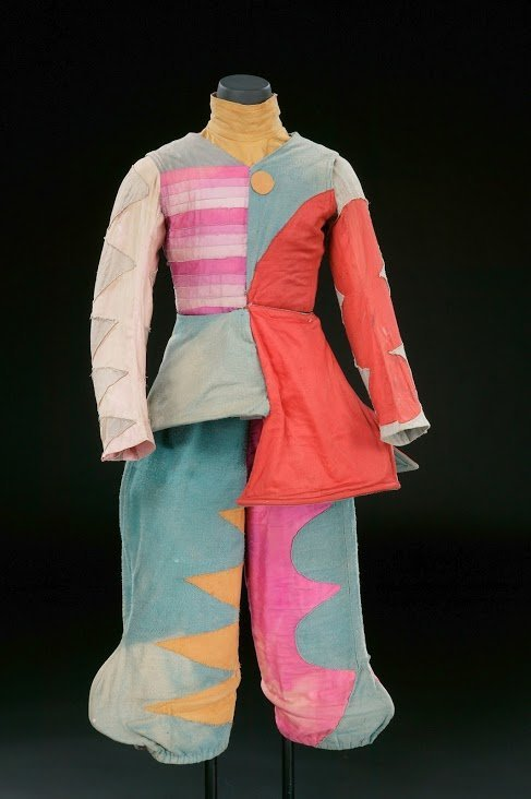 The costume for the Buffoon in 'The Tale of the Buffoon', designed by Mikhail Larinov.
