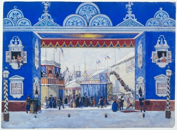 A rendition of a set design by Alexandre Benois, for the ballet 'Petrushka' in 1911.