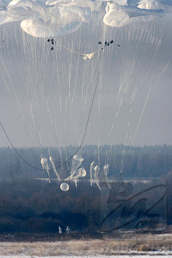 Russian airborne forces practice heavy drops