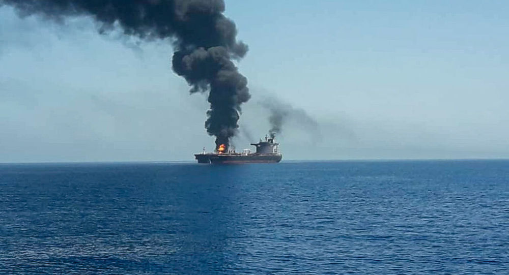 An oil tanker is seen after it was attacked at the Gulf of Oman, in waters between Gulf Arab states and Iran, June 13, 2019