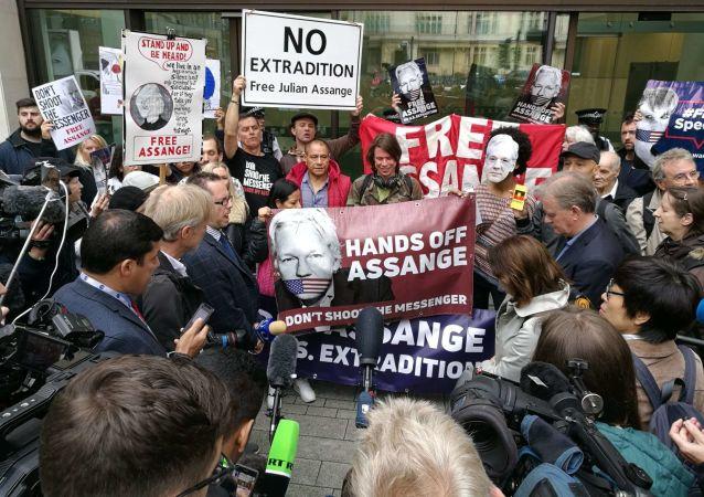 Julian Assange supporters. London. 14.06.2019