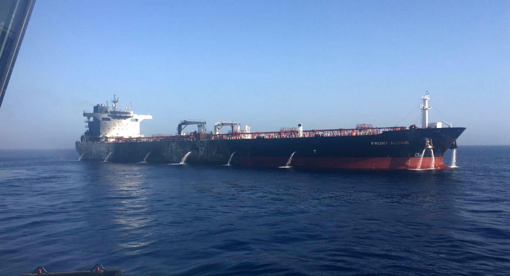 A handout photo made available by the Norwegian shipowner Frontline of the crude oil tanker Front Altair after the fire onboard the ship in the Gulf of Oman, June 13, 2019