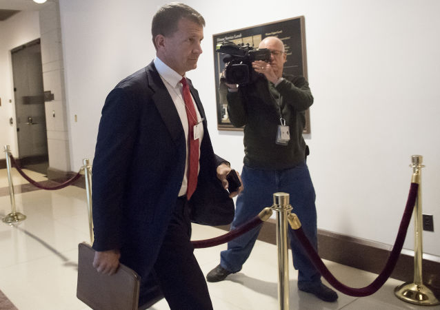 Erik Prince, former Navy Seal and founder of private military contractor Blackwater USA, arrives to testify during a closed-door House Select Intelligence Committee hearing on Capitol Hill in Washington, DC, November 30, 2017.