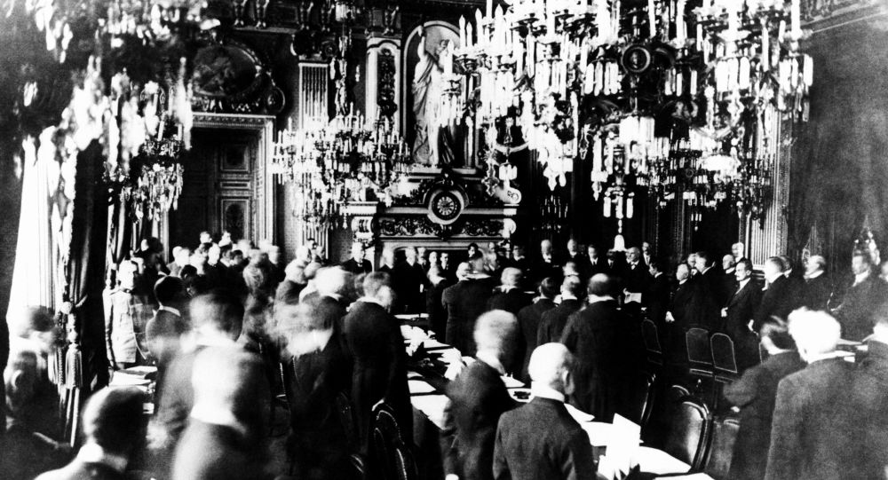 At Palace of Versailles in Paris, the treaty marking the close of World War I was signed by the Allied Powers and Germany on 28 June 1919