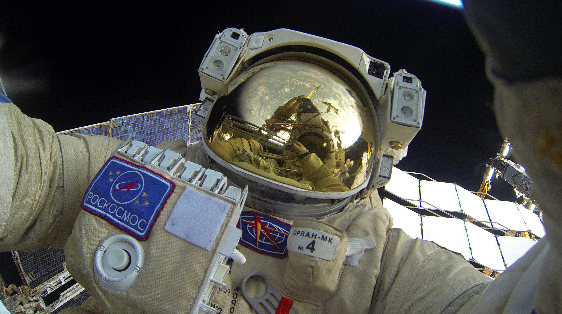 Roskosmos Cosmonauts Sergei Volkov and Yury Malenchenko performing extravehicular activities on February 3, 2016