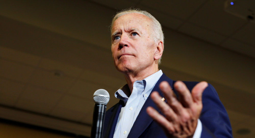 Democratic 2020 U.S. presidential candidate and former Vice President Joe Biden speeks at an event at Iowa Wesleyan University in Mount Pleasant