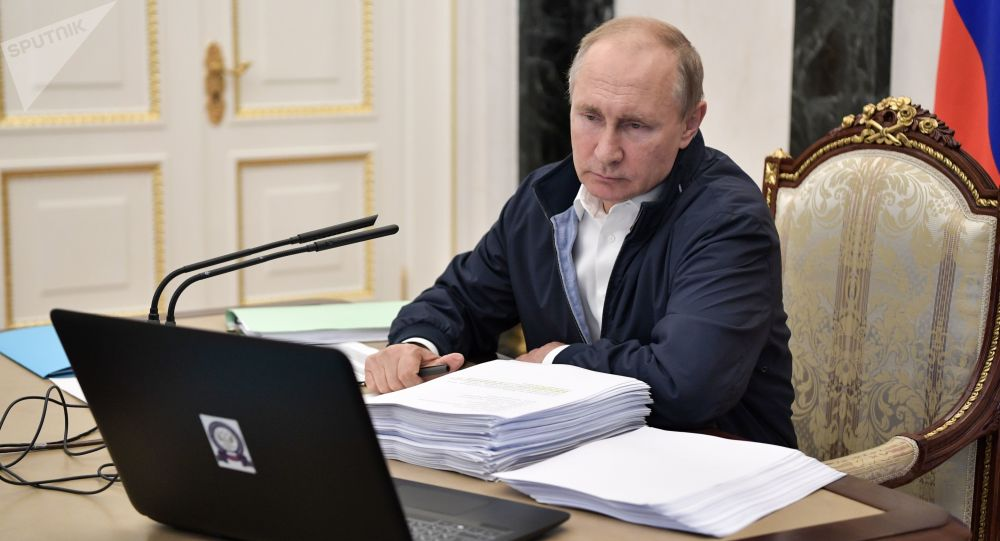 Russian President Vladimir Putin chairs a meeting ahead of his annual question and answer session which is to take place on June 20, in Moscow, Russia