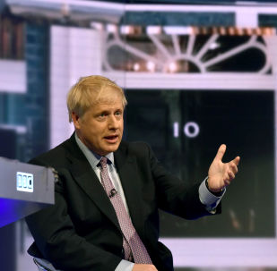 Boris Johnson appears on BBC TV's debate with candidates vying to replace British PM Theresa May, in London, Britain June 18, 2019