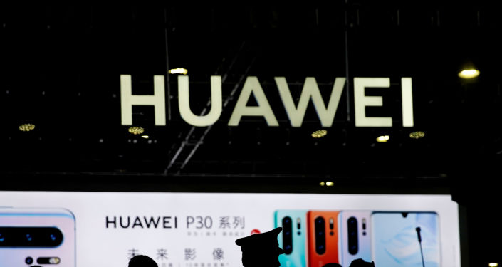 A Huawei company logo is seen at CES (Consumer Electronics Show) Asia 2019 in Shanghai, China