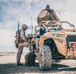 A Marine conducts pre-deployment training and evaluation. Additionally, Marines are evaluating the Compact Laser Weapons System, the first ground-based laser approved by the Department of Defense for use by warfighters, as another potential C-UAS defeat capability.